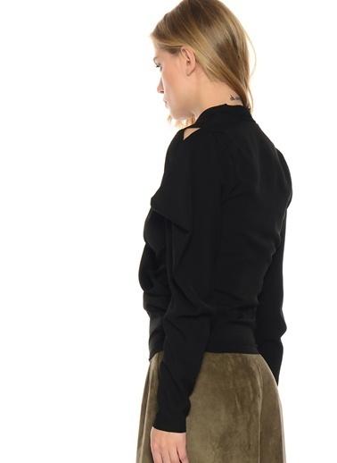 Liquorish Uzun Kollu Bluz Siyah